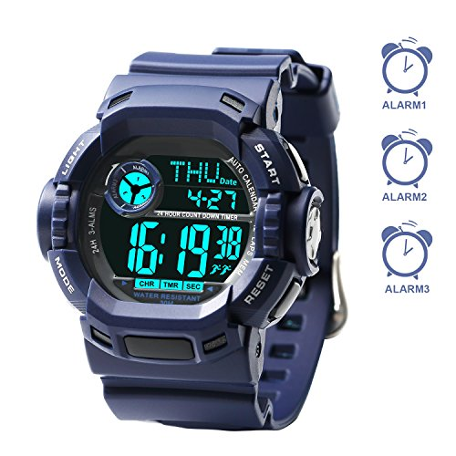 3 Multiple Alarms Kids Watches, Outdoors Swimming Timer Sports Digital Watch for Boy Girl Childrens (Wrist Size 5.0″-7.5″, for Age 7+)