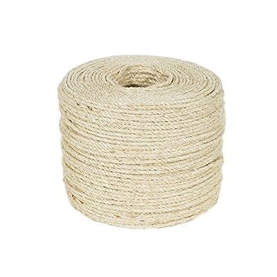 Golberg Twisted Sisal Rope (1/4 Inch x 25 Feet)