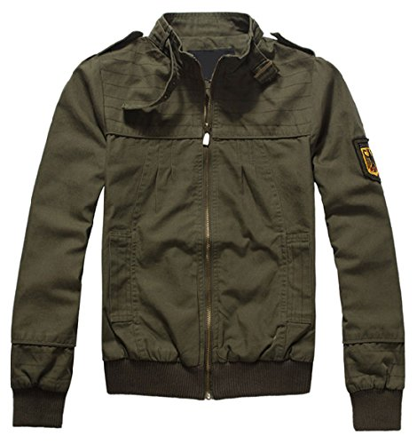 Canvas Bomber Jacket - Chouyatou Women's Tactical Belted Collar Zip Lightweight Canvas Bomber Jacket (Medium, Army)