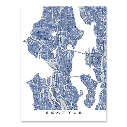 Amazon Com Seattle Map Art Washington Usa City Street Outline