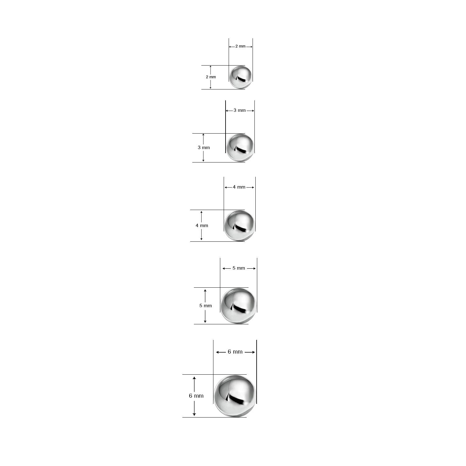Stainless Steel Round Ball Studs Earrings 5 Pair Set Assorted Sizes