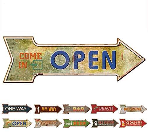(HANTAJANSS Road Signs Arrow Retro Open Signs Bar Decoration)