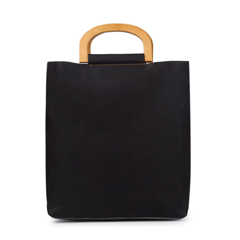 BAIGIO Women Simple Fashion Leather Satchel Purse Wood Handle Handbag