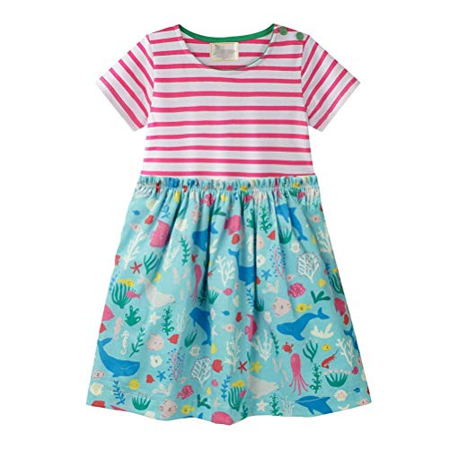 Eocom Little Girls Soft Summer Cotton Short Sleeve Dresses T-Shirt Casual Cartoon Dress (Sea World, 5T)