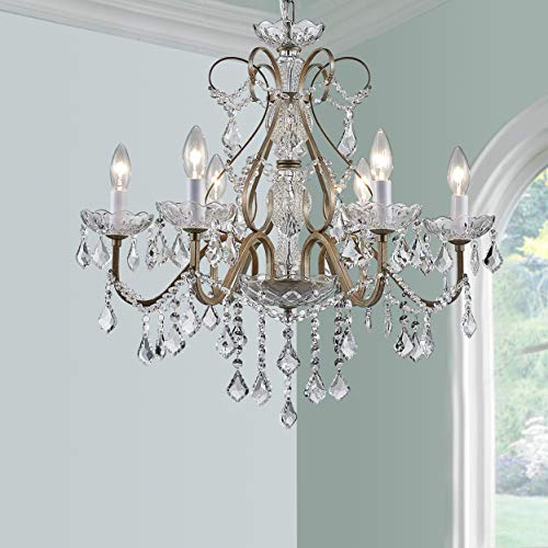 - Antique Silver Vintage Candle Chandelier Crystal Lighting Fixture Lamp for Dining Room Bathroom Foyer Livingroom 6 E12 Bulbs Required D24 in x H26 in