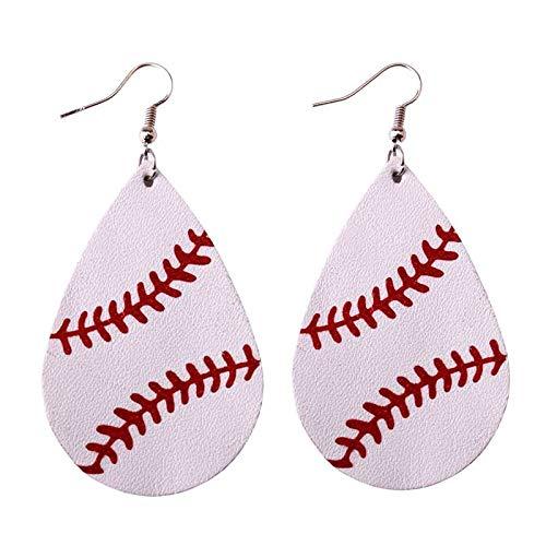 (Leather Earrings for Women | Sports Green Softball Earrings | Teardrop Earrings | Fashion Jewelry)