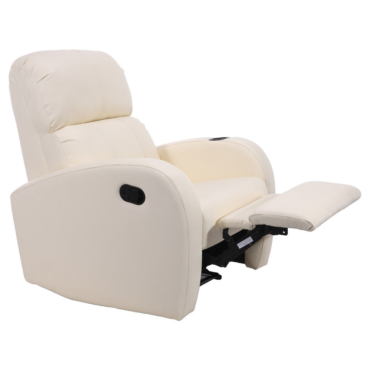 Giantex Recliner Chair Single Sofa PU Leather Lounger Club Manual Ergonomic Home Theater Seating (Beige)