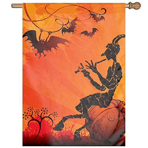 XIAOTT Halloween Singing Witch Clip Art Welcome Garden Flag Vertical Outdoor & Indoor]()
