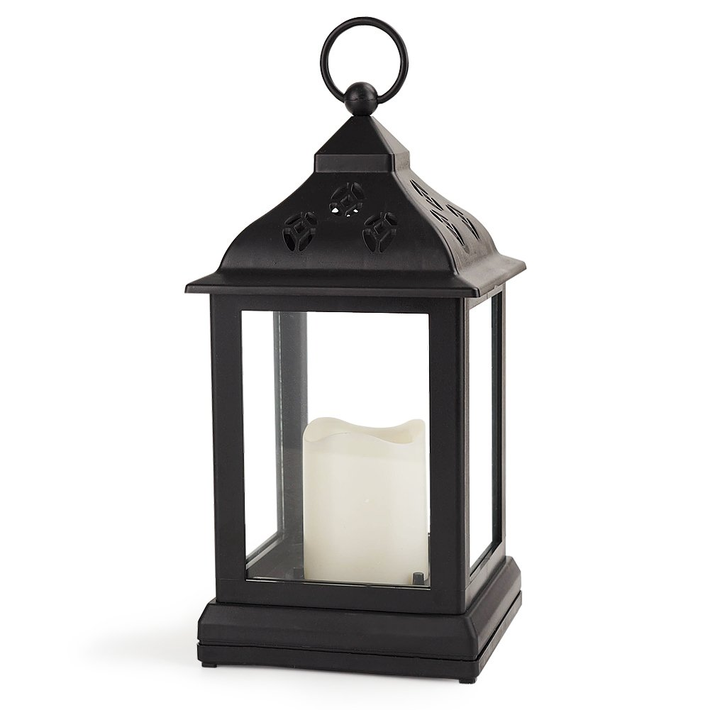 Bright Zeal Vintage Candle Lanterns with LED Flickering Flameless Candles (BLACK, 10'' TALL, 8hr Timer, Battery Included) - Indoor Hanging Lights - Decorative Candle Lanterns 1201N