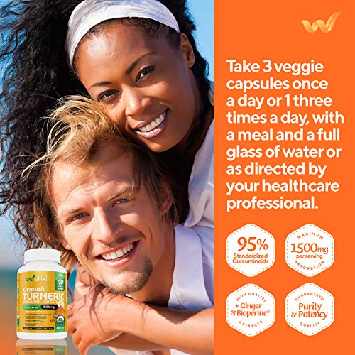Wellixir Organic Turmeric Curcumin Supplement w. Bioperine & Ginger Root, 1500mg High Absorption