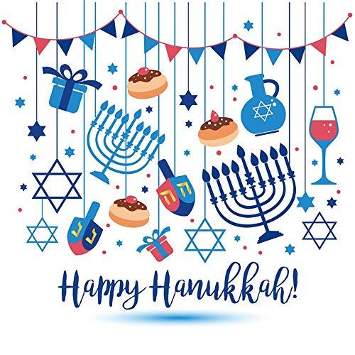 (AOFOTO 6x6ft Happy Hanukkah Poster Backdrop Jewish Holiday Festival Celebration Stars Delicious Food Dessert Wine Dreidrel Game Toy Menorah Background Photo Studio Props Vinyl)