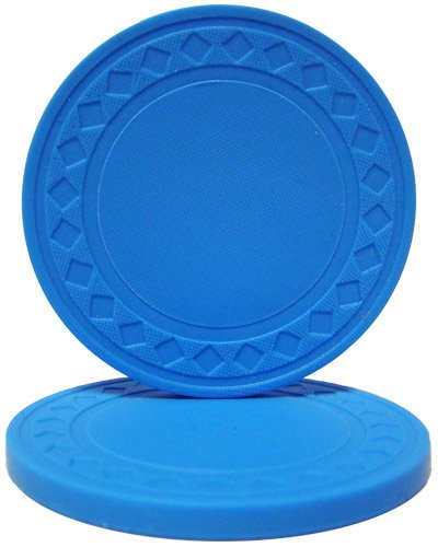 Brybelly Diamond Ring Poker Chip 8.5-Gram Clay Composite – Pack of 50 (Light Blue) - Poker Pro Poker Clay