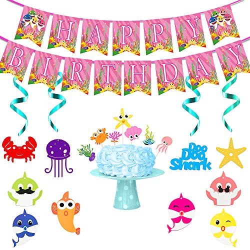 18 PCS Cartoon Shark Party Swirl Decorations Cute Shark Banner Cupcake Toppers Whirl Streamers Home Wall Hanging Ceiling Happy Birthday Party Supplies Kit for Family Baby Shower Boy Girl Kids