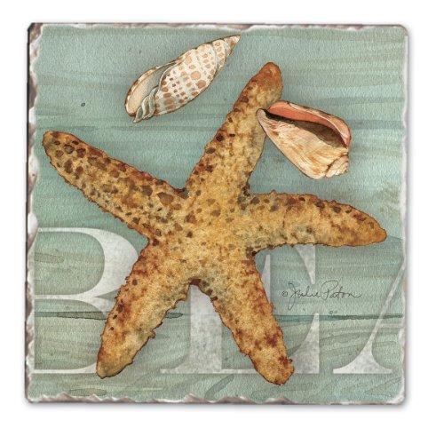 CounterArt Seashells Basket Tumbled Coasters