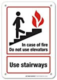 """In Case Of Fire Do Not Use Elevators Use Stairways Laminated Fire Safety Sign- 10"""" X 7"""" - .040 Rust Free Heavy Duty Aluminum - Made in USA - UV Protected and Weatherproof"""