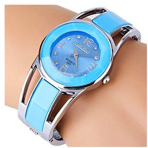 (ELEOPTION Women's Bangle Watch Bracelet Design Quartz Watch with Rhinestone Round Dial Stainless Steel Band Wrist Watches Free Women's Watch Box (XINHUA-Light Blue))