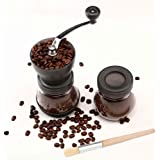 Manuell kaffekvarn, premium justerbar grovhet keramisk burr, bärbar handvevkvarn för resor eller camping, med extra…