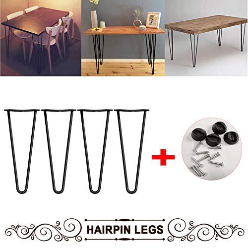 4 patas de mesa de horquilla de 12 pulgadas con tornillo y protector de pie de mesa estandar estable de acero de 2 varillas de 10 mm de altura (negro)