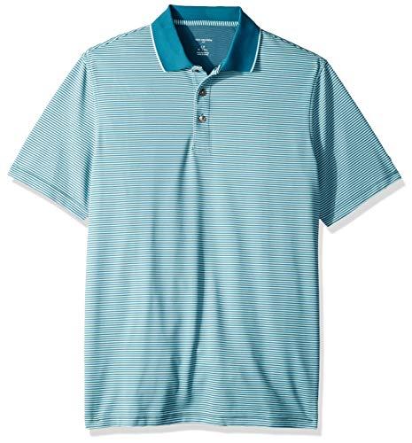 Van Heusen Men's Big and Tall Short Sleeve Air Performance Ottoman Stripe Polo Shirt, Turquoise Storm Blue, 3X-Large Big