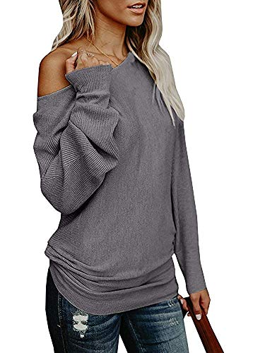 (Hestenve Womens One Shoulder Pullover Sweater Long Sleeve Loose Fit Casual Jumper (Small, ZZ-Grey))