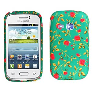 For Various Phones Pink Flower Floral Green Silicone Back Skin Case Cover+Screen Guard (Samsung Galaxy Young S6310 S6312)