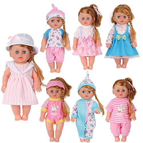 11 Inch Doll Clothes - Pack of 7 for 11-12-13 Inch Alive American Doll Baby Doll Clothes Dress Costumes Gown Outfits Princess Birthday Xmas Present Wrap for Girls