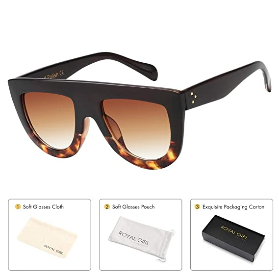 ff54249d41fd ROYAL GIRL Flat Top Sunglasses For Women Trendy Oversized Goggles Vintage  Shades(black leopard tortoise)  Amazon.in  Clothing   Accessories