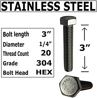 JWYN 8-Pack 1//4-20 x 5 inches 304 Stainless Steel Hex Head Cap Screw Bolts with Flat Washers Nuts in Small Kit Partial Thread Coarse Grade 18-8 Split Lock Washers