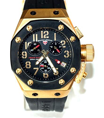 - Swiss Legend Men's 10541-YG-01-BB Trimix Diver Collection Chronograph Black Rubber Watch