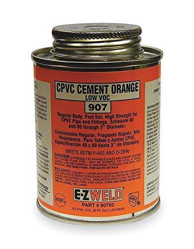 (Ez Weld CPVC Cement, Orange, 8 oz, for CPVC Pipe And Fittings - 20702, (Pack of 5))
