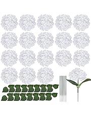 Gukasxi 20 st Hortensia silkesblommor huvuden med stjälkar och blad, silke hortensia blommor konstgjorda blommor för bröllop hemmafest baby shower dekoration (vit)