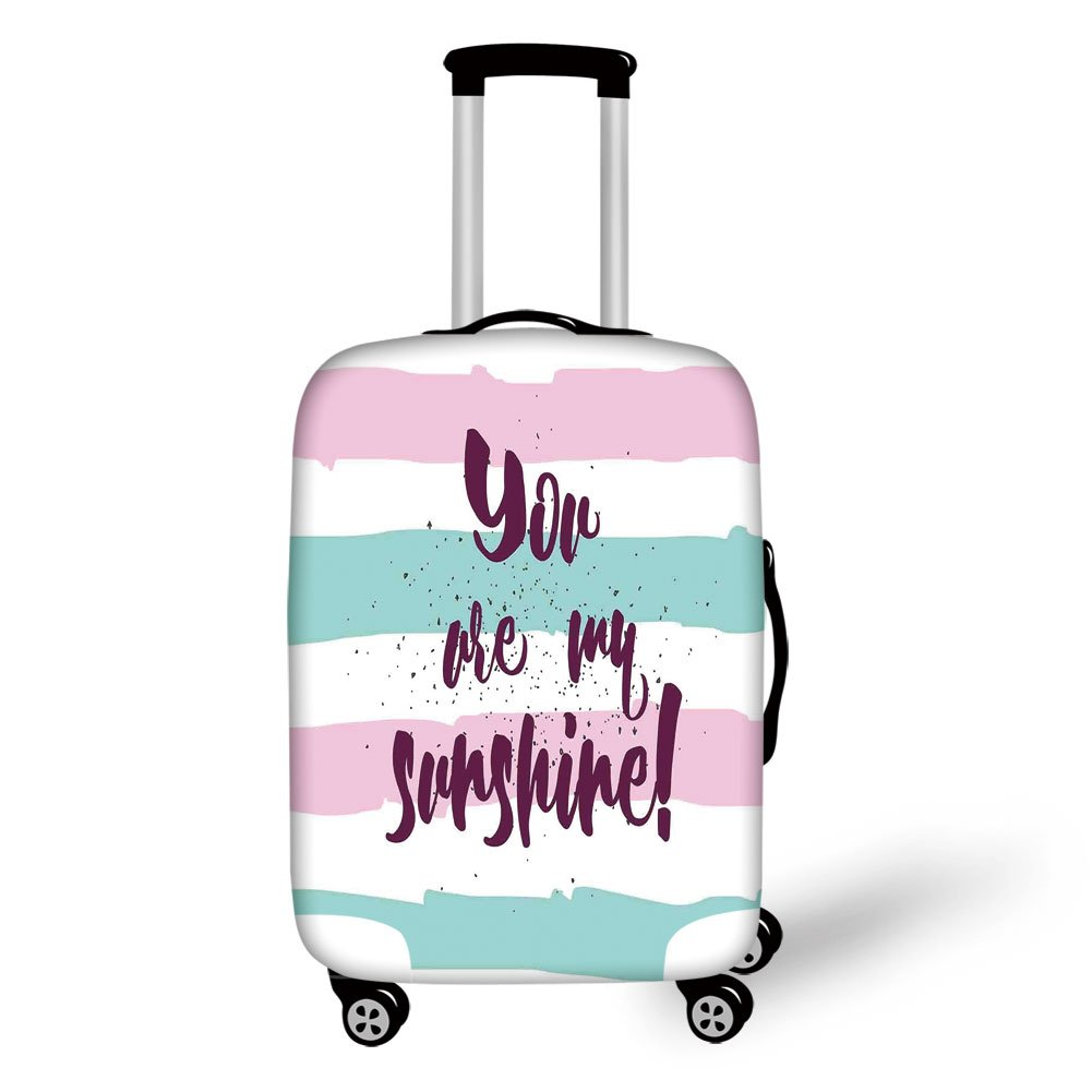 Travel Luggage Cover Suitcase Protector,Quotes Decor,Horizontal Striped Setting with Sunshine Phrase on Foreground Love Romance Theme,Multi,for Travel