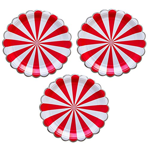 Disposable Party Paper Plates Stripe Dessert Plates 7-Inch for a Tea Party, Picnic or Birthday, Pack of 24 (7 in, Red) -