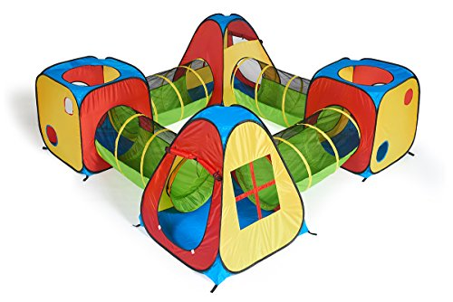 UTEX 8 in 1 Pop Up Children Play Tent House with 4 Tunnel, 4 Tents for Boys, Girls, Babies and Toddlers for Indoor and Outdoor Use