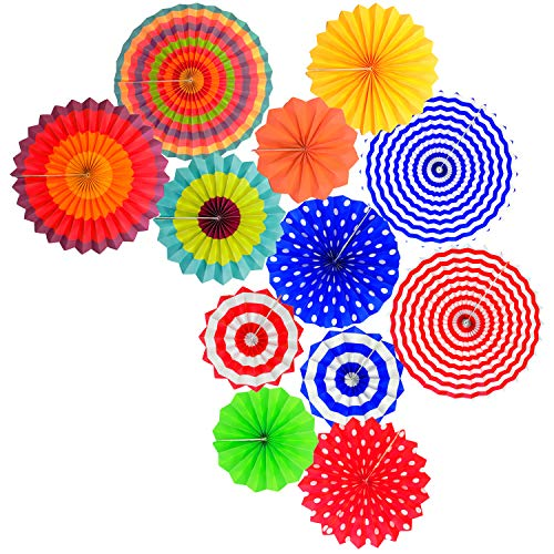 Fiesta Colorful Paper Fans Lantern Round Wheel Disc Design for Party,Event,Wedding Birthday Carnival Home Decorations (Colorful, 12PCS) ()