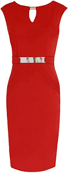 DELEY damski okrągły dekolt bez rękawÓw Business Slim Bodycon Workwear Pencil Dress: Odzież