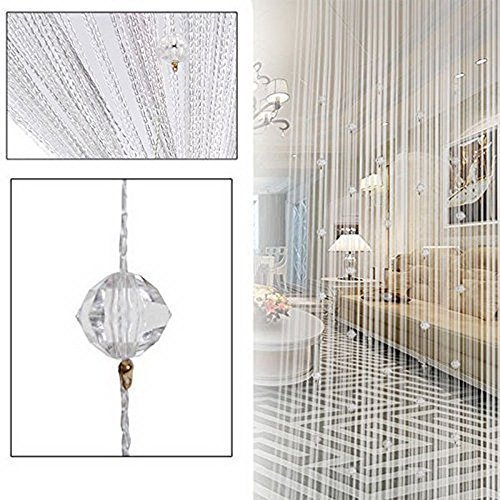 BKDZ Decorative Door String Curtain Beads Wall Panel Fringe Window Room Divider Blind for Wedding Coffee House Restaurant Parts Crystal Tassel Screen Home Decoration (White)
