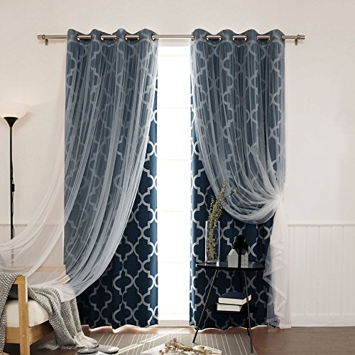Best Home Fashion Mix and Match Tulle Sheer Lace and Room Darkening Moroccan Print Curtain Set - Antique Bronze Grommet Top - Navy - 52