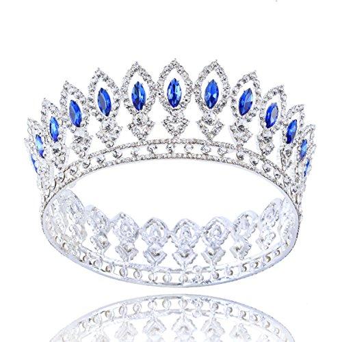 Stuff Full Bridal Crown Silver Plating Crown Wedding Cake Topper Rhinestone Crown Princess Crown Bridal Crown Wedding Crown (1#)