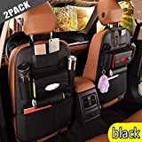 2 Pack PU Leather Premium Car Seat Back Organizer Travel Accessories, Car Seat Back Organizer Seat Protector/Kick Mats Back seat Protector and iPad Mini Cup Holder Holder,Universal Use Seat Covers (Black)
