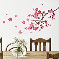Mengshang Cherry Blossom Flower Wall Sticker Removable Living Room Bedroom Wall Decals Decors Murals Poster