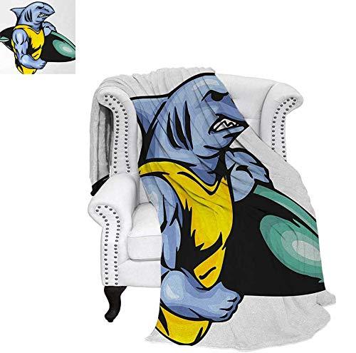 Lightweight Blanket Grumpy Surfer Shark with Muscled Body Exotic Sports Mascot Cartoon Custom Design Cozy Flannel Blanket 70