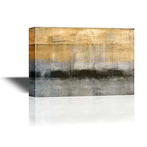 wall26 - Canvas Wall Art - Abstract Landscape with Golden Black and Grey Color - Gallery Wrap Modern Home Decor | Ready to Hang - 32x48 inches ()