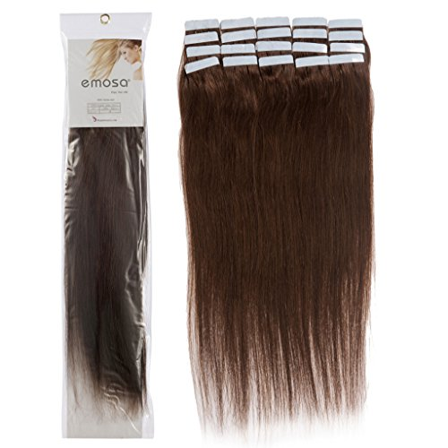 Emosa #4 18 inch 20 pcs Total 50g 100% Remy Stright Tape Skin Seamless Human Hair Extensions #04 Medium Brown