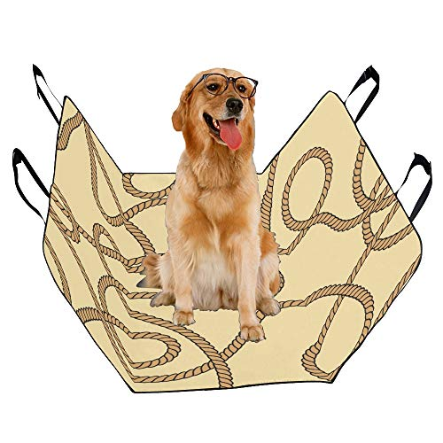 JTMOVING Fashion Oxford Pet Car Seat Hemp Rope Hand-Painted Creativity Waterproof Nonslip Canine Pet Dog Bed Hammock Convertible for Cars Trucks SUV
