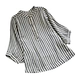 2018 Big Promotion,WUAI Clearance Womens Casual Shirts Striped Loose Fit Vacation Basic Long Sleeve Fashion Blousr(Black,Size L)