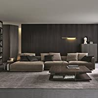 Modern Tufted Brush Microfiber Sectional Sofa - Living Room L Shaped Couch with Loveseat Chaise Lounge and Long Side Shelf - BONUS Long Ottoman and 6 Throw Pillows, Espresso (Right Chaise)