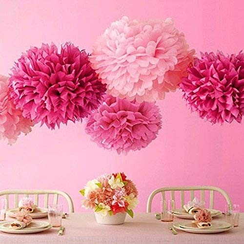 Bekith 30 pc Pink and Gold Party Decorations  Paper Pom Poms Glitter Garlands Tassels  Tissue Pom Poms Flowers for Birthday Party Engagement Wedding Baby Shower