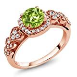 1.17 Ct Round Green Peridot 18K Rose Gold Plated Silver Ring