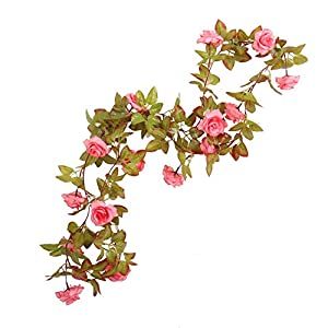 Li Hua Cat Rose Garland Artificial Rose Vine with Green Leaves 63 Inch Pack of 3 Flower Garland For Home Wedding Decoration (17rose-pink) 19